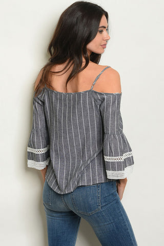 Black Striped Cold Shoulder Top-Back View