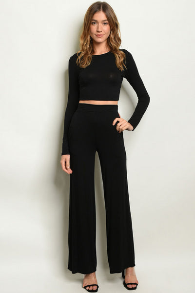 Black Crop Top & Wide Leg Pants Outfit Set- Full Front