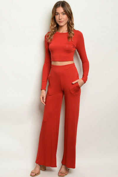 Brick Rust Orange Crop Top & Wide Leg Pants Set- Full Front