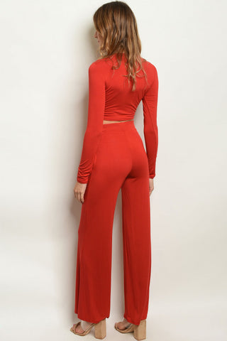 Brick Orange Crop Top & Wide Leg Pants Set- Full Back