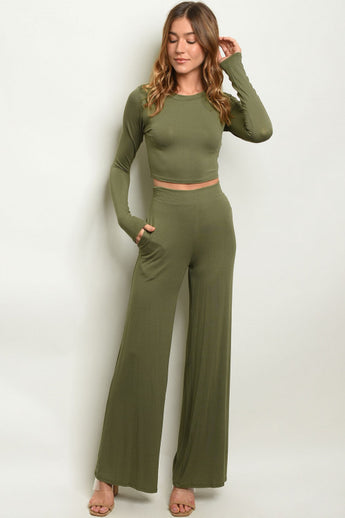 Olive Crop Top & Wide Leg Pants Outfit Set- Full Front