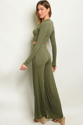 Olive Crop Top & Wide Leg Pants Outfit Set- Full Back