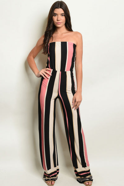 Pink and Black Striped Tube Jumpsuit- Full Front
