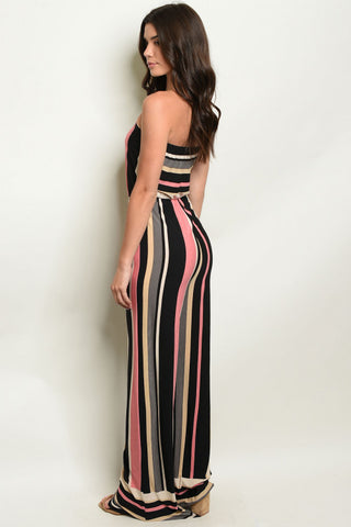 Pink and Black Striped Tube Jumpsuit- Full Back