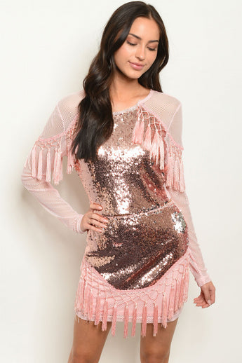 Pink and Rose Gold Sequined Fringe Top & Skirt Set- Front