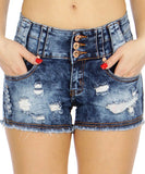Medium Blue Ripped Denim Shorts- Close Up