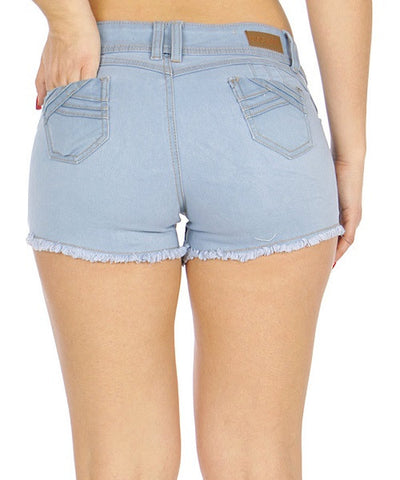 Light Blue Distressed Denim Shorts- Back View