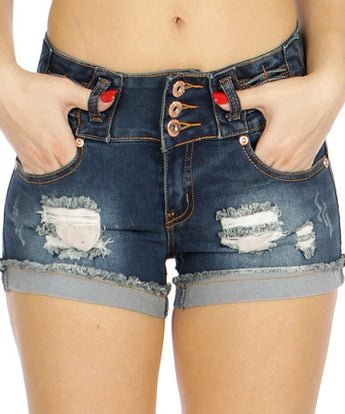 Dark Blue Destroyed Denim Shorts- Close Up