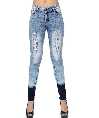 Blue Acid Wash Distressed Ombre Skinny Jeans