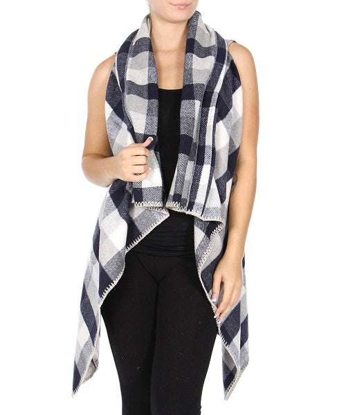 Navy Blue and Gray Plaid Shawl Flyaway Vest