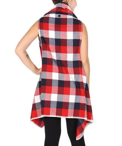 Red and Navy Blue Plaid Shawl Flyaway Vest- Back View