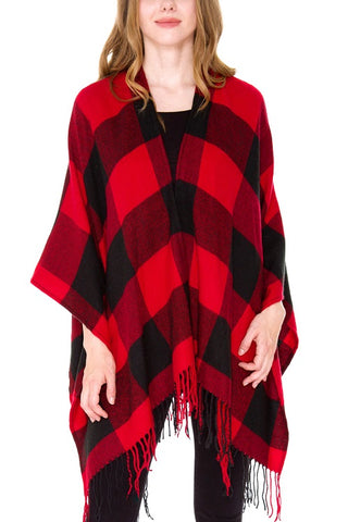 Red and Black Checkered Buffalo Plaid Ruana Poncho Wrap