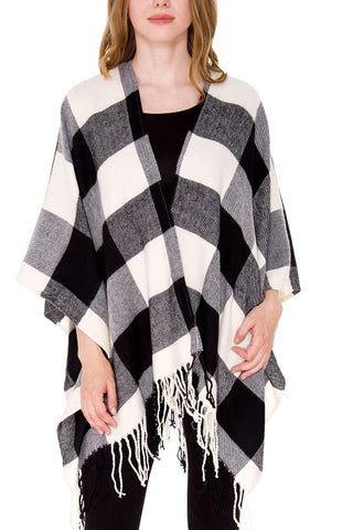 Black and Off White Boho Buffalo Plaid Ruana Poncho