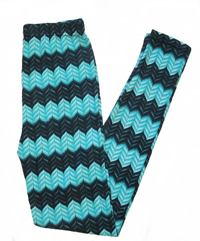 Mint Green and Black Chevron Zigzag Print Leggings