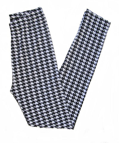Black & White Houndstooth Pattern Leggings