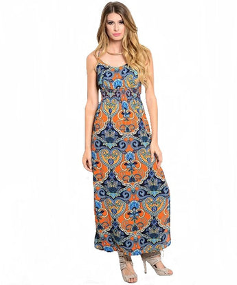 Orange & Blue Paisley Boho Maxi Dress