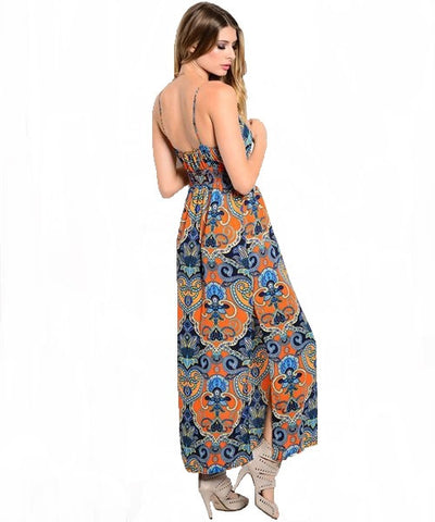 Orange & Royal Paisley Boho Maxi Sundress- Back View