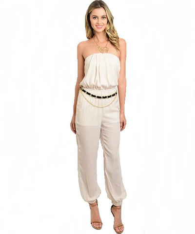 Ivory Halter Jumpsuit with Chain Link Belt