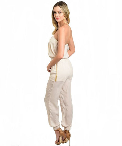 Ivory Halter Jumpsuit- Back View