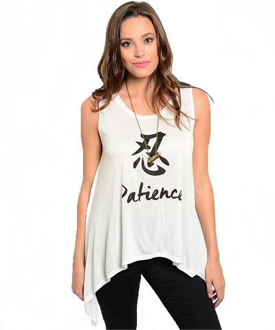 White Graphic Top