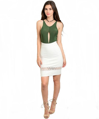 White Lace Detail Pencil Skirt