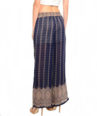 Navy & Mocha Palazzo Pants- Back View