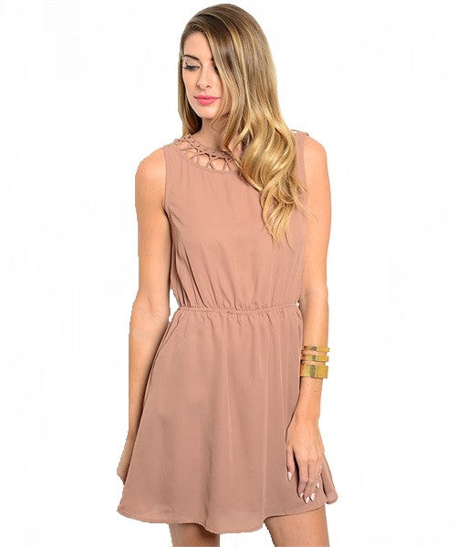 Mocha Cutout Back Slit Dress