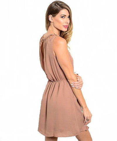 Mocha Cutout Back Slit Dress- Back View