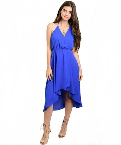Electric Blue High Low Halter Dress