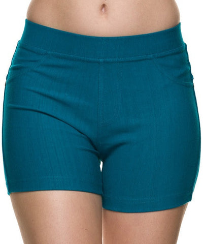 Teal Faux Denim Shorts