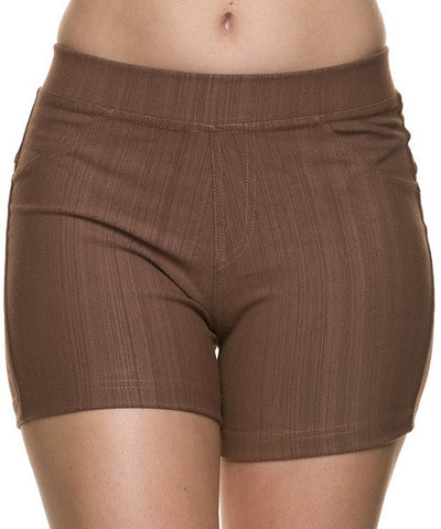 Mocha Faux Denim Ponte Shorts