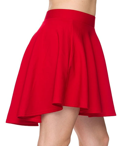 Red High Low Mini Flared Scuba Skater Skirt- Side View