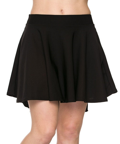 Black High Low Mini Flared Scuba Skater Skirt