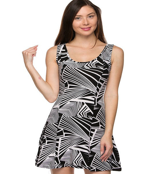 Black and White Geometric Mini Skater Dress