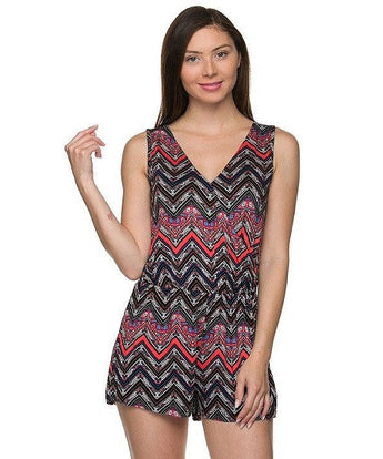 Black and Coral Chevron Print V-Neck Romper