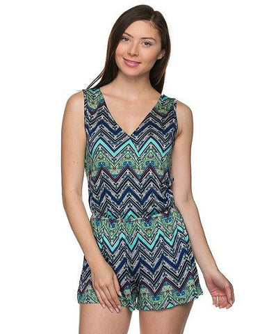 Blue and Green Chevron Print V-Neck Romper