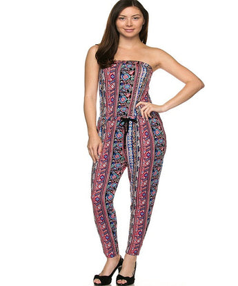 Black Printed Tube Jumpsuit