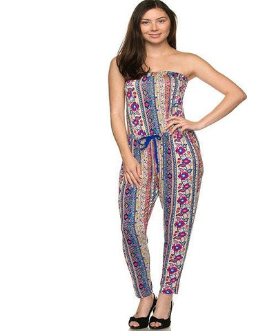 Blue Printed Tube Jumpsuit