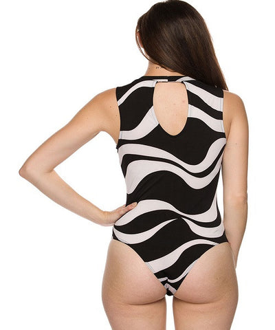Black & White Bodysuit with Front/Back Keyhole