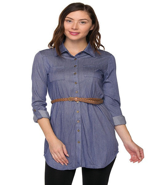 Belted Chambray Shirt Dress with Roll Tab Sleeves