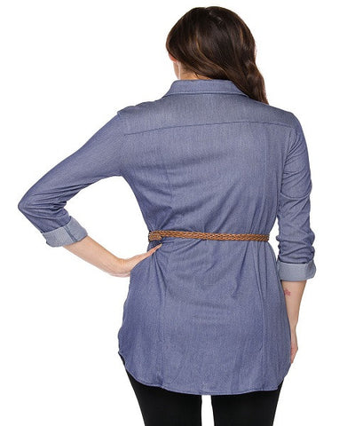 Belted Chambray Shirt Dress- Back View