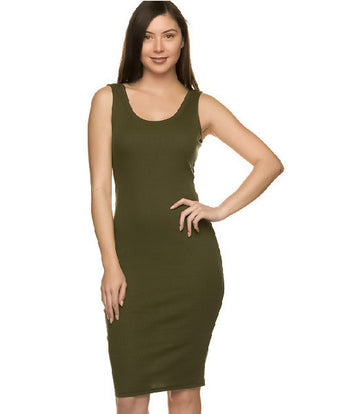 Olive Green Ribbed Midi Tank Dress