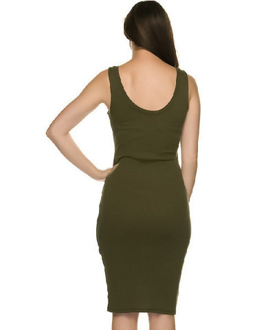Olive Green Ribbed Midi Tank Dress- Back View