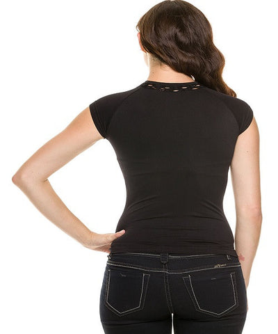 Black Seamless Mock Neck Fishnet Top- Back View