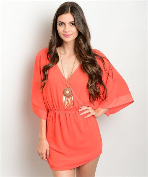 Tomato Red Orange Dolman Sleeve Mini Dress- Front View