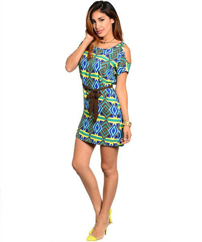 Green Cold Shoulder Diamond Print Ethnic Shift Dress