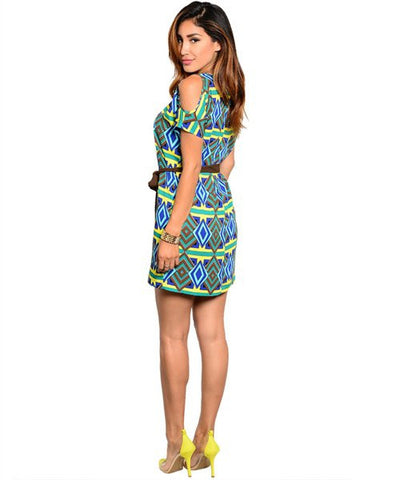 Yellow Cold Shoulder Diamond Print Ethnic Shift Dress- Back View