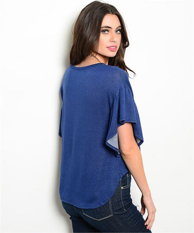 Indigo Blue Flutter Sleeve High Low Top- Back View