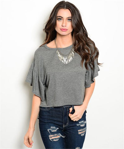 Dark Gray Flutter Sleeve High Low Top