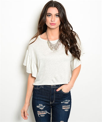 Oatmeal Flutter Sleeve High Low Top